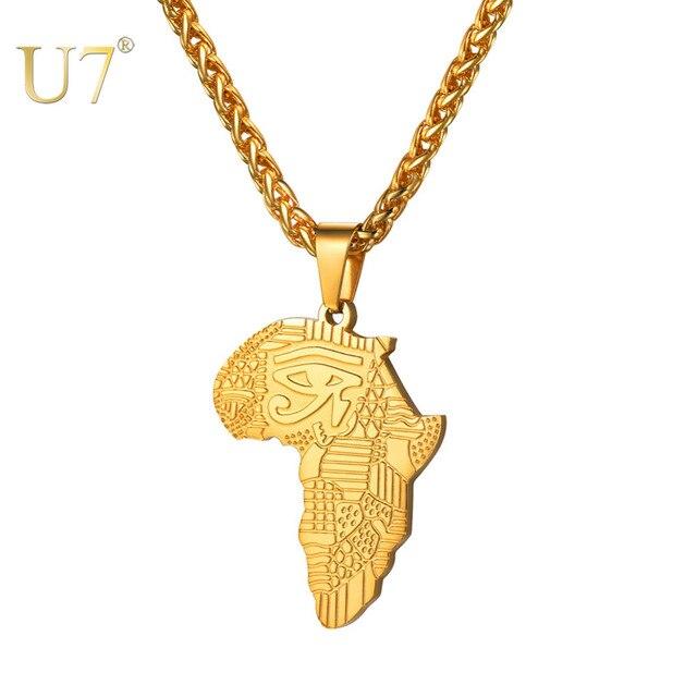 U7 Africana Mappa del Modello di Occhio Di Horus Collane con pendente per Le Donne/Uomini Regalo di Eye Oro/Colore Nero Allah Collana amuleto Collare P1194