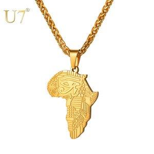 Image 1 - U7 אפריקאי מפת דפוס העין של הורוס תליון שרשראות לנשים/גברים מתנה עין זהב/שחור צבע אללה שרשרת קמע צווארון P1194