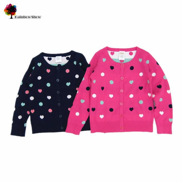Nueva ropa de los niños niñas otoño primavera puntos preciosos corazones llenos de Cardigan niños jerseys de calidad de algodón de punto de la rebeca