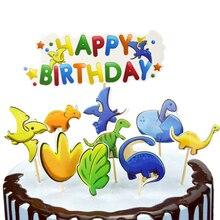 20 pçs/lote festa de chuveiro do bebê dos desenhos animados dinossauro design diy cupcake toppers decorar meninos favores bolo de aniversário toppers com varas