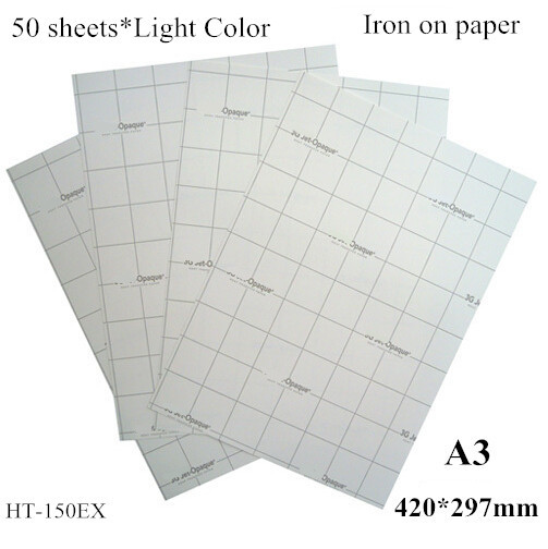 (A3*50pcs) Iron On Inkjet Heat Transfer Printing Paper For Clothes Iron-on T Shirt Transfers For Light Fabric Only