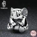 Voroco auténtica plata de ley 925 colgante elefante afortunado bebé encantos fit pandora pulsera diy perlas y joyería ingredientes s371