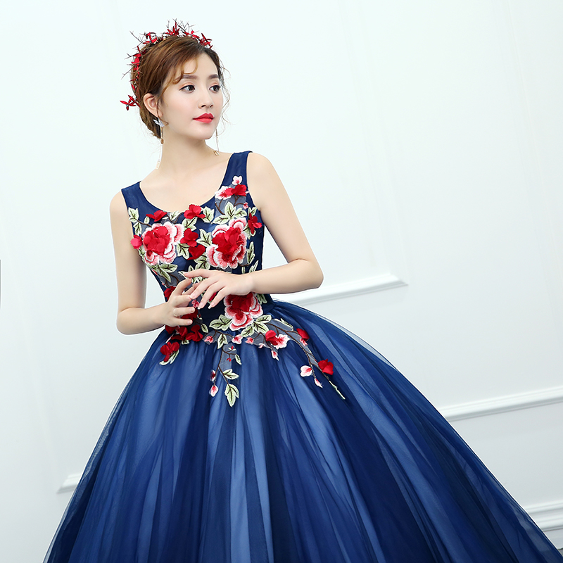 a8bd24eb2267 OPZC 2018 New Arrival Evening Dress Sleeveless Ball Gown Classic Flower  Pattern Design Cut out Fashion Elegant in Formal Stage -in Evening Dresses  from ...