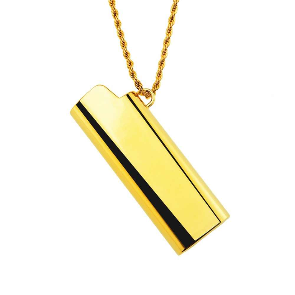 Hip Hop Zinc Alloy Fire Lighter Case Pendent Necklace Fashion Brand Bling Rapper Jewelry Gift for Men Women