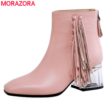 MORAZORA 2020 New genuine leather boots women tassel Crystal high heels zip autumn winter boots sweet fashion ankle boots female