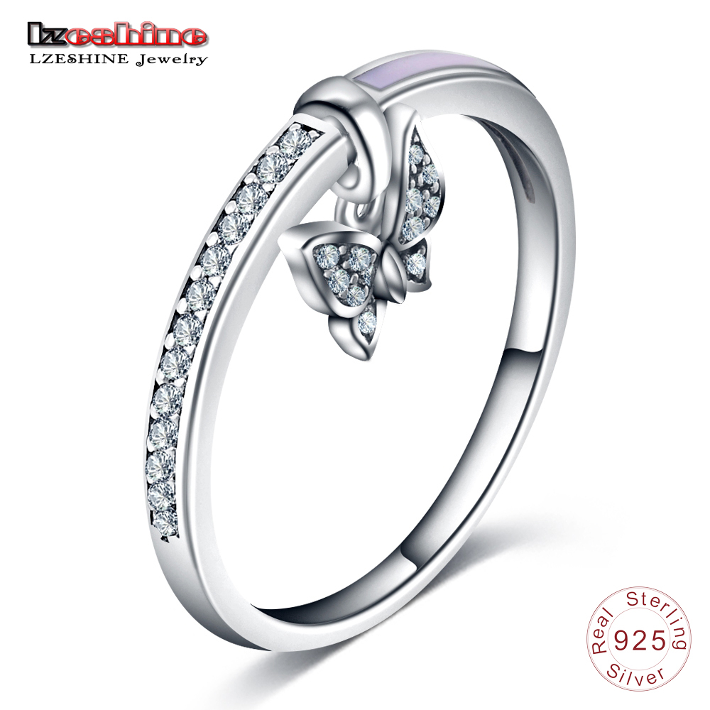 LZESHINE Dangle-Ring Sterling-Silver Butterfly Women Jewelry Charming Cz-Design New Engagement