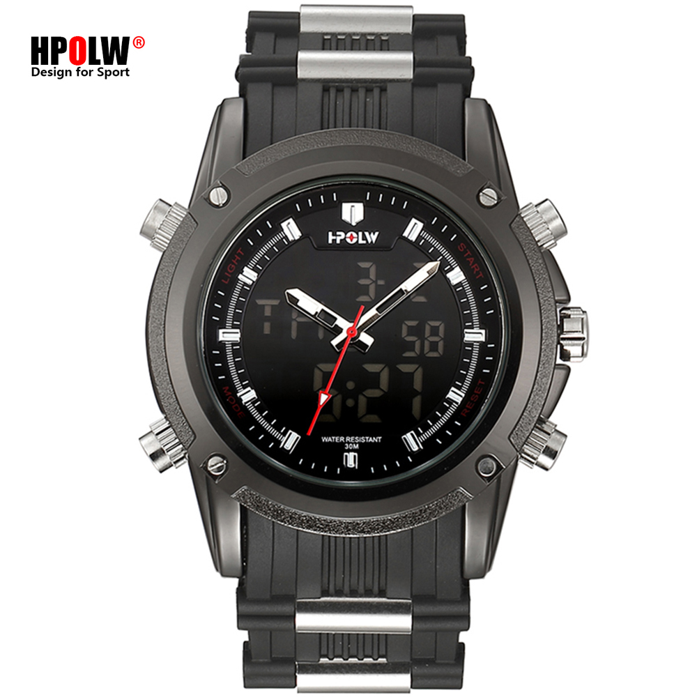 HPOLW New Men Sports Watches Luxury Mens Military Army Watch Digital LED Electronic Male Wristwatches Relogio Masculino in Quartz Watches from Watches
