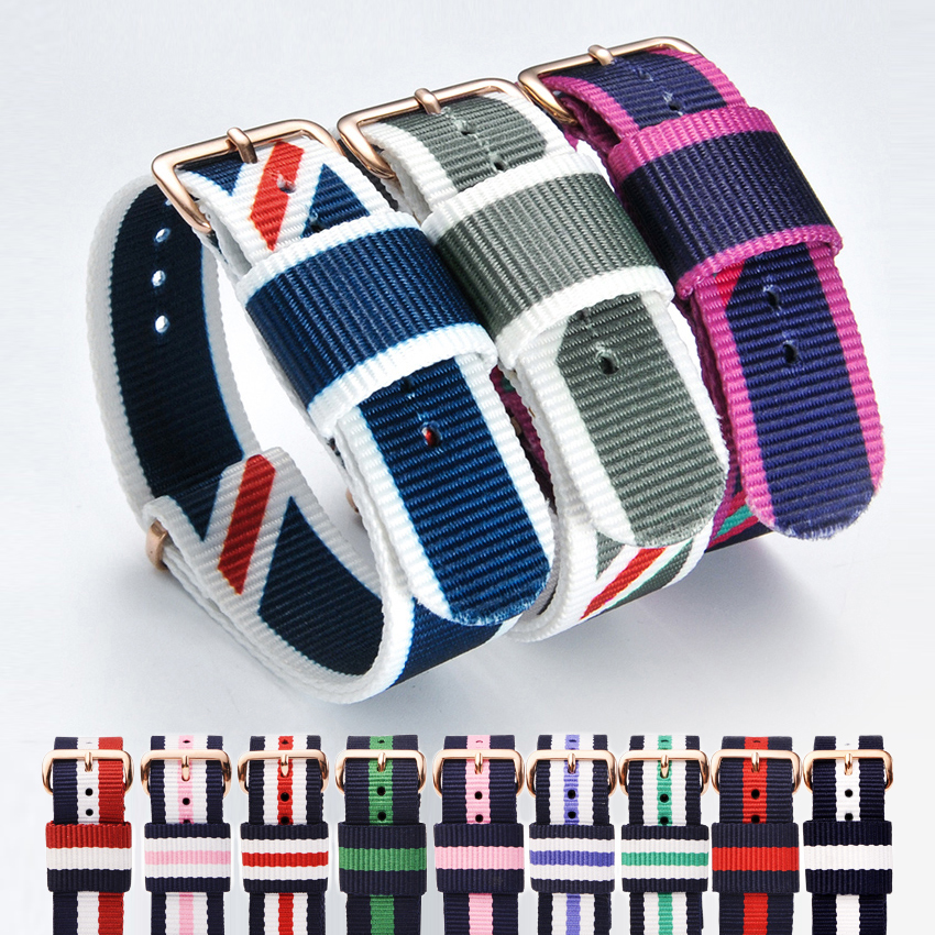 Nato Watchband for dw Nylon Strap Watch Band 18mm 20mm Rose Gold Bracelet Silver Buckle Band for watch 20mm Reloj Mujer Belts nylon watchband nato 20mm summer watchband general watchband watch female watchband male