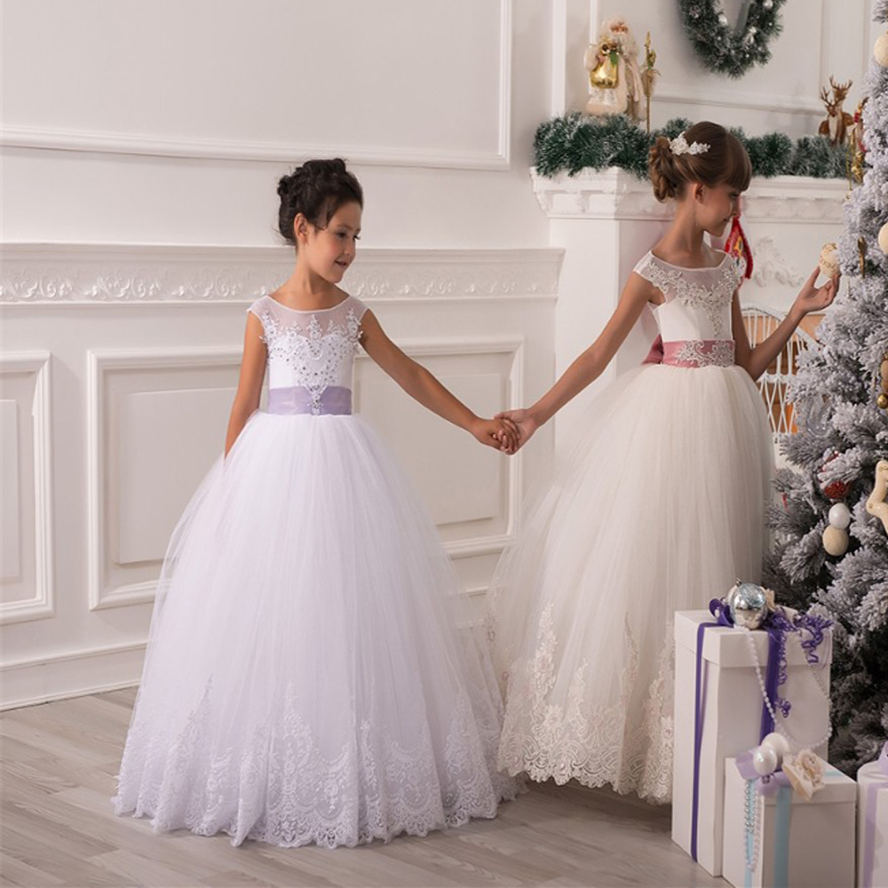 Flower Girl Dresses Hole Ball Gown White Lace Sleeveless O Neck  Wedding Pageant First Communion Dresses for Little Girls HW1083Flower Girl Dresses Hole Ball Gown White Lace Sleeveless O Neck  Wedding Pageant First Communion Dresses for Little Girls HW1083