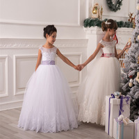 Flower Girl Dresses Hole Ball Gown White Lace Sleeveless O Neck Wedding Pageant First Communion Dresses for Little Girls HW1083
