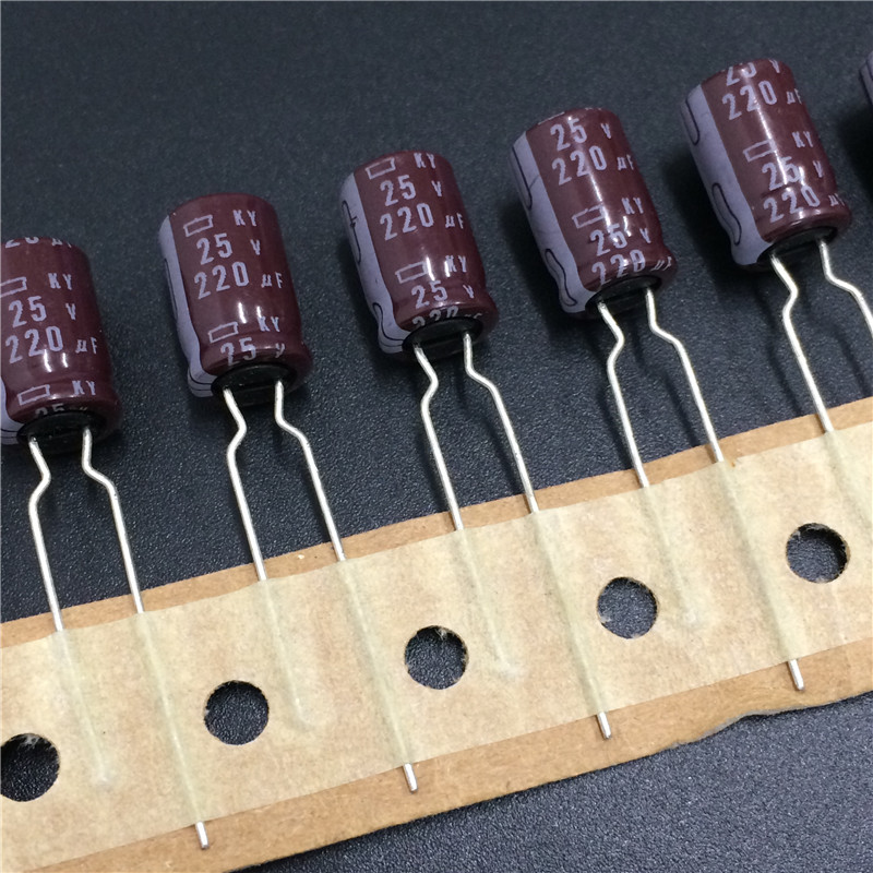 10pcs 220uF 25V NIPPON NCC KY Series 8x12mm Low Impedance 25V220uF Aluminum Electrolytic Capacitor