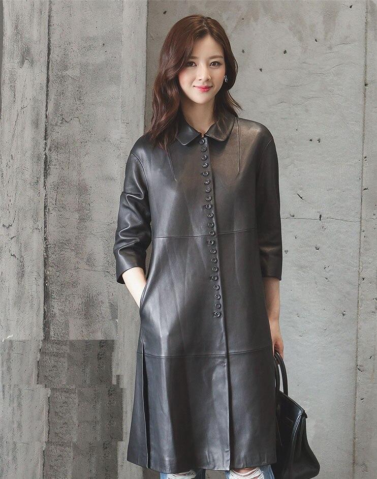 Fashion 2018 women's medium long sheepskin trench coat genuine leather female ladies spring autumn clothing black plus size xxxl