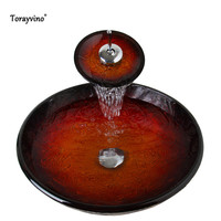Torayvino New Arrival Bathroom Waterfall Washbasin Lavatory Tempered Glass Basin Sink Combine Vessel Vanity Tap Mixer