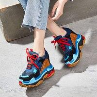 Comprar SWYIYV zapatos de moda mujer Zapatillas de plataforma de cuero 2019 nuevo Hided aumento de tacones