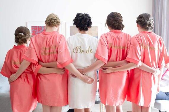90fba818b32 personalized titles wedding Bridesmaid bride satin pajamas robes bridal  shower kimonos gifts company gifts party favors