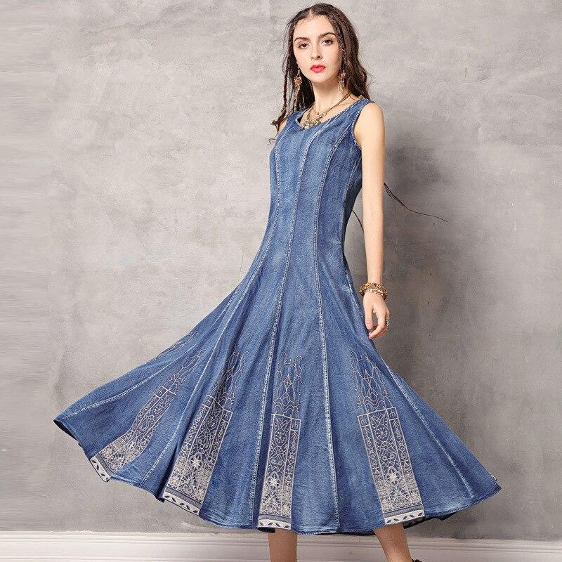 Nouveau col rond gilet brodé denim robe gothique punk femmes rétro plissé à volants denim longue robe d'été robes robe veste