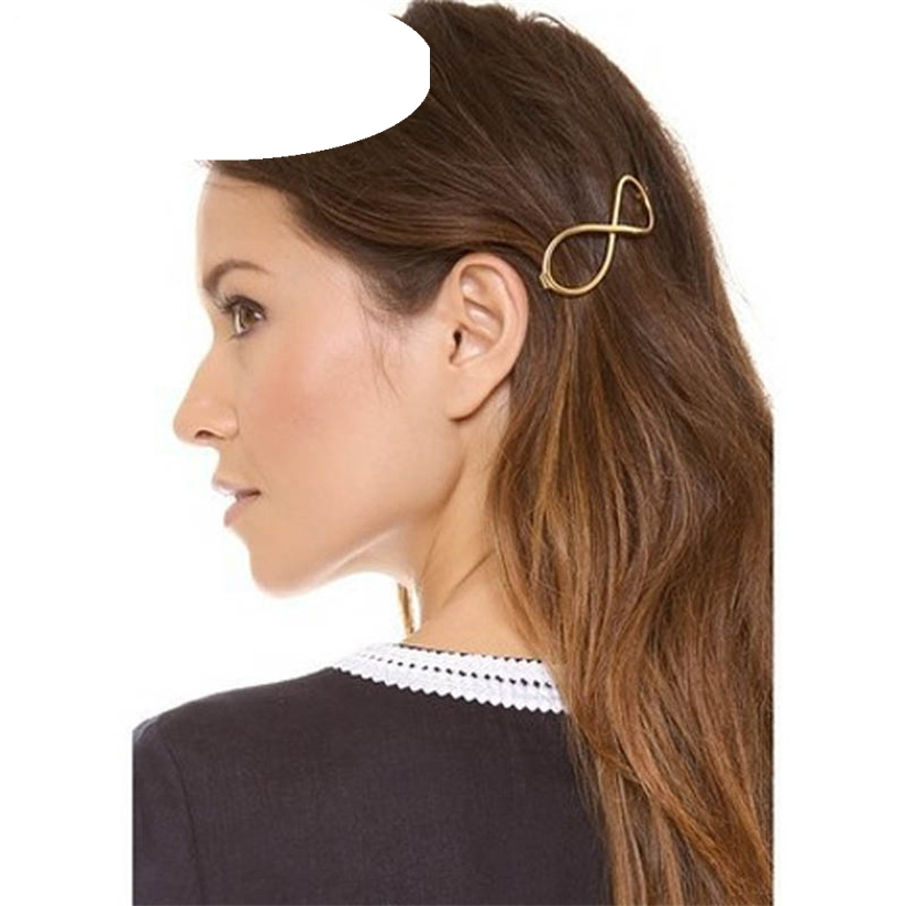 Hot Marketing Fashion Women Positive Infinity Gold Barrette Hairpin Hair Clip Headband L20 Drop Shipping 1pc fashion lovely women girl metal leaf hair clip crystal hairpin barrette headwear christmas party hair accessory 2016 hot