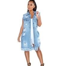 Open Back Denim Dress Jeans Hole Streetwear Tassels Sexy Tank Hip Hop Knee Length Vestidos Summer Cut Out Casual Ropa Mujer double v cut full length tank dress