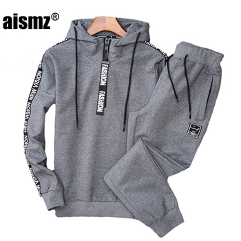 Aismz New Tracksuit Men Sportswear Hoodies+Pants Sweat Two Piece Set Men Sweatshirt Sporting Jogger Track Suit For Men Clothing