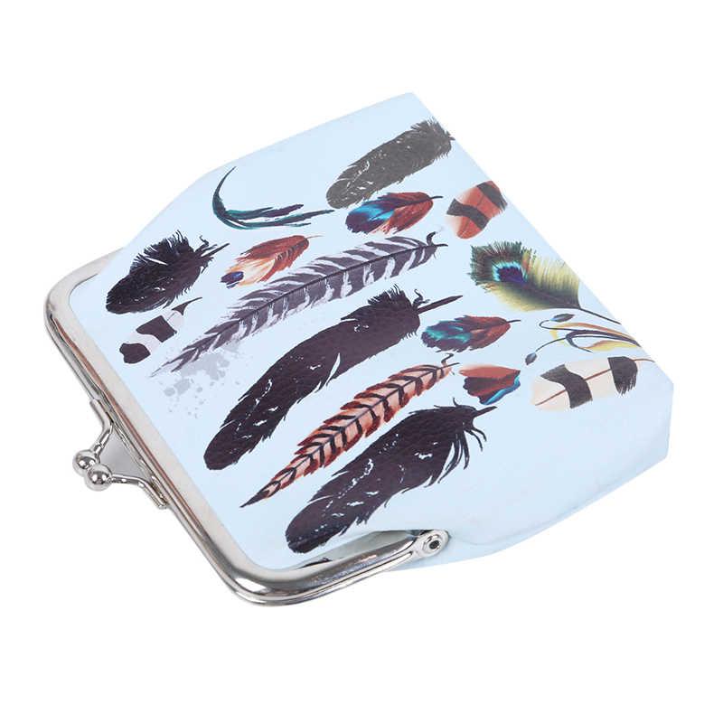 3D 깃털 인쇄 동전 지갑 PU 가죽 지갑 작은 신선한 캐주얼 돈 가방 잎 패턴 키 홀더 Carteira