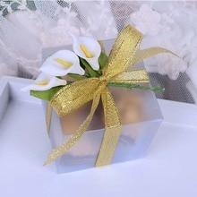 50 Pieces Scrub square PVC Wedding Favor Gift Box Transparent Party Candy Bag Wholesales 5x5x5cm