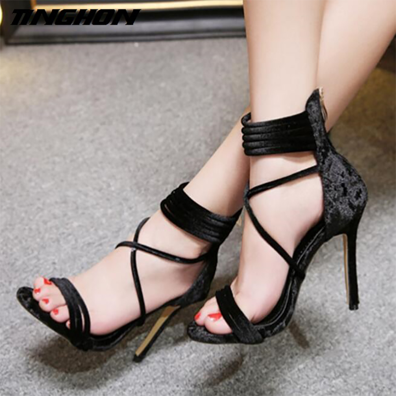 TINGHON Sexy Women 11CM High Heels Sandals Women Cross Strappy Gladiator  Sandals Women Summer Shoes Woman Instagram Sandals-in High Heels from Shoes  on ... f6a23eb15d6f