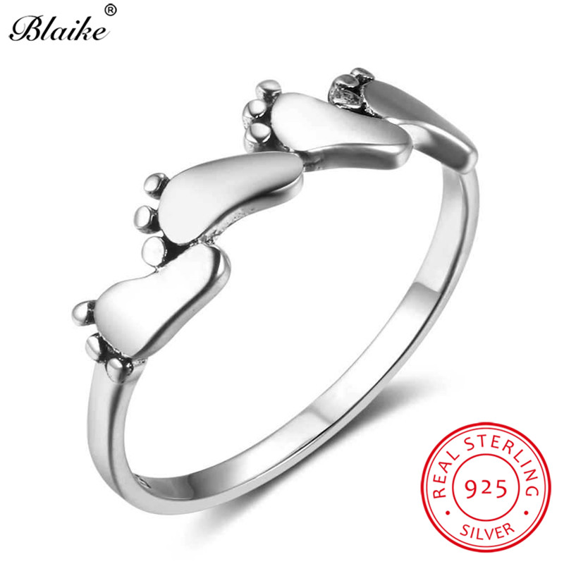 Blaike Cute Small Baby Feet Charm Rings For Women Men Antique Real