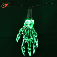 New Halloween Skeleton Hands Party String Lights 10 Light Skull Green LED Fairy Lighting Skeletal Hand Hallowmas Decoration