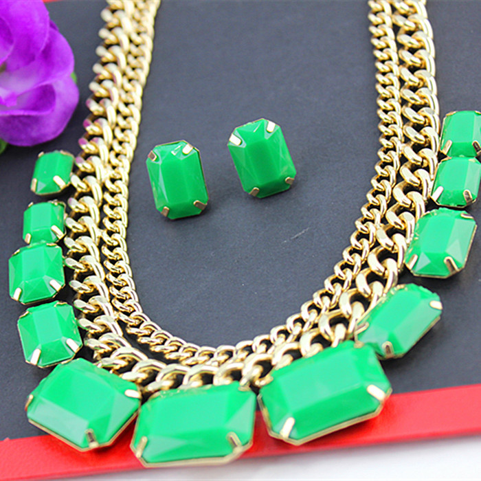 Shiny green popular romantic beautiful tassels shaped gold-plated girl gifts wholesale pendant necklace! Free shipping!