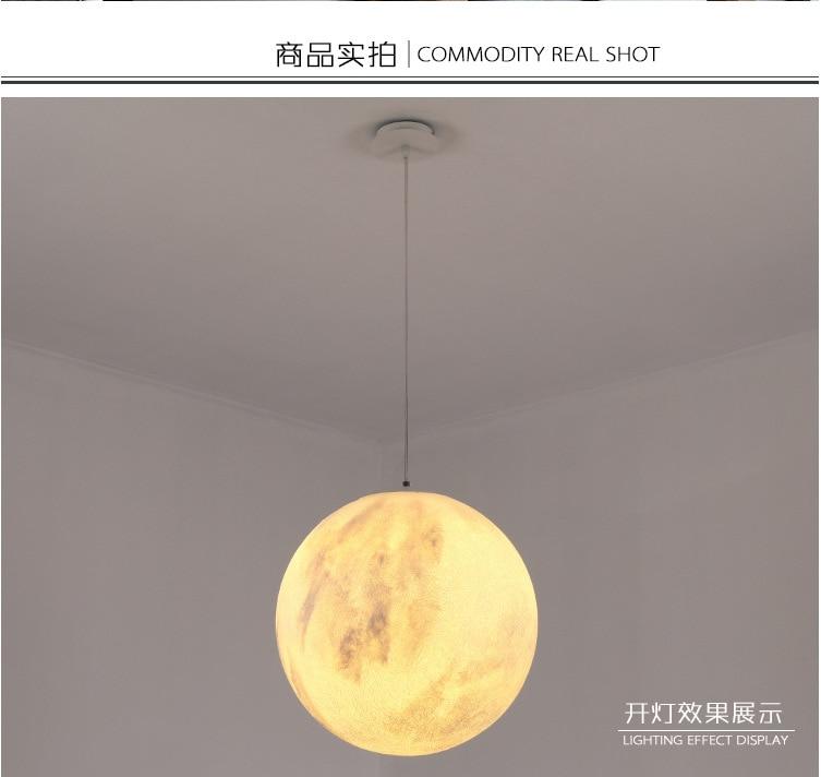 Креативный 3D отпечаток кулон Огни Новинка Луна атмосферный ночник лампа ресторан/бар подвесное освещение - 4