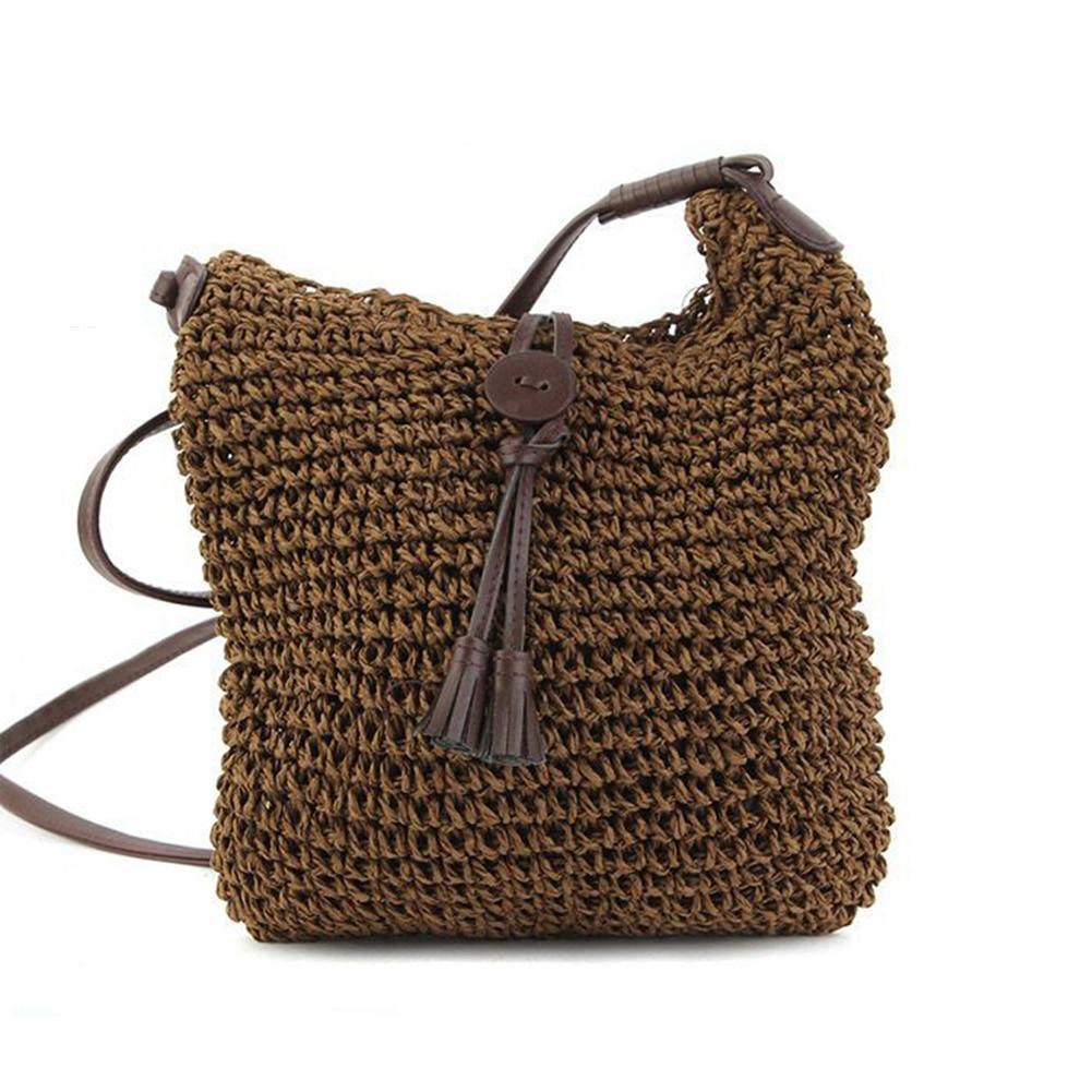 1 * Frauen Stroh Handtasche Mädchen Kleine Strand Schulter Taschen Messenger Kreuz Einfach Zu Verwenden