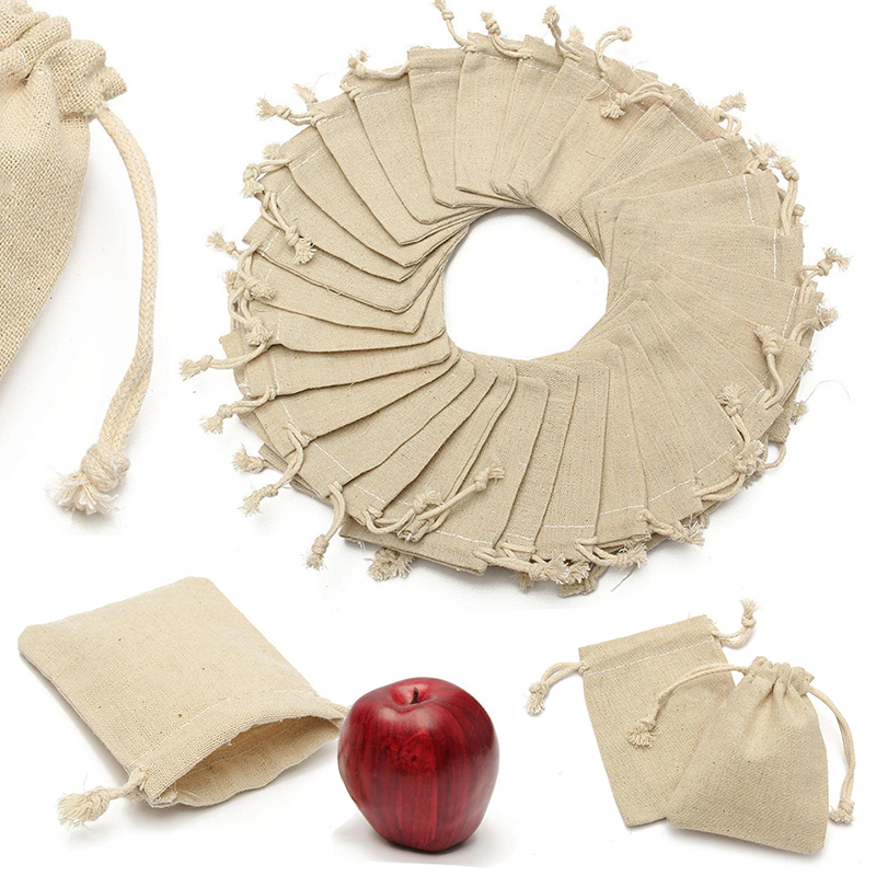 30Pcs Small Natural Linen Jute Sack Gift Bags Jewelry Pouch Drawstring Bag For Home Party Storages 10*8CM