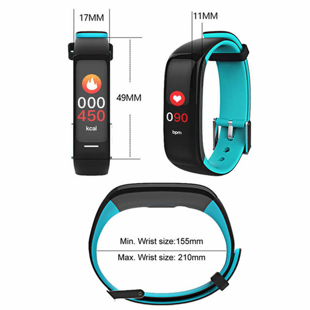 US $38 56 |HUINIU H1 Smart Wristband Fitness Bracelet Most Accurate Heart  Rate Monitor Blood Pressure Colorful Touch Screen PK Fitbits S2-in Smart
