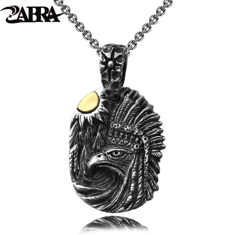 ZABRA Vintage Indian Sun Eagle Solid 925 Sterling Silver Pendant Necklace Punk Rock Pendants Biker Man Big Black Silver Jewelry 100% 925 silver skull hand pendant vintage sterling rock necklace pendant hiphop man pendant