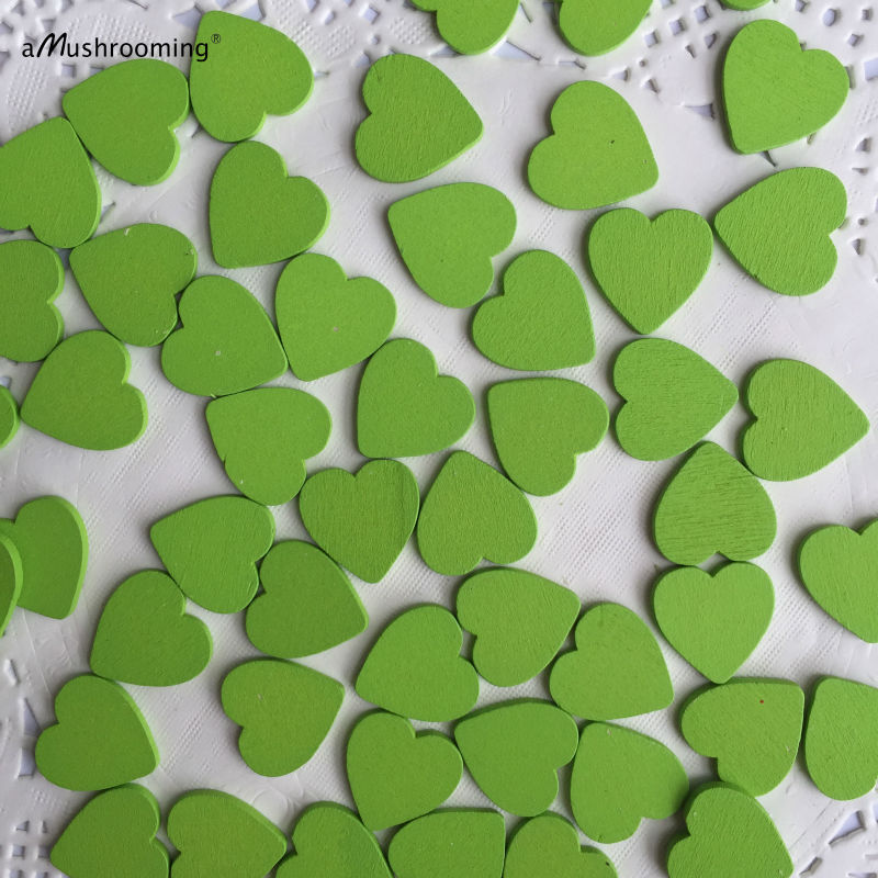 (200pcs/lot) Green Heart Shaped Wooden Pieces Unfinished