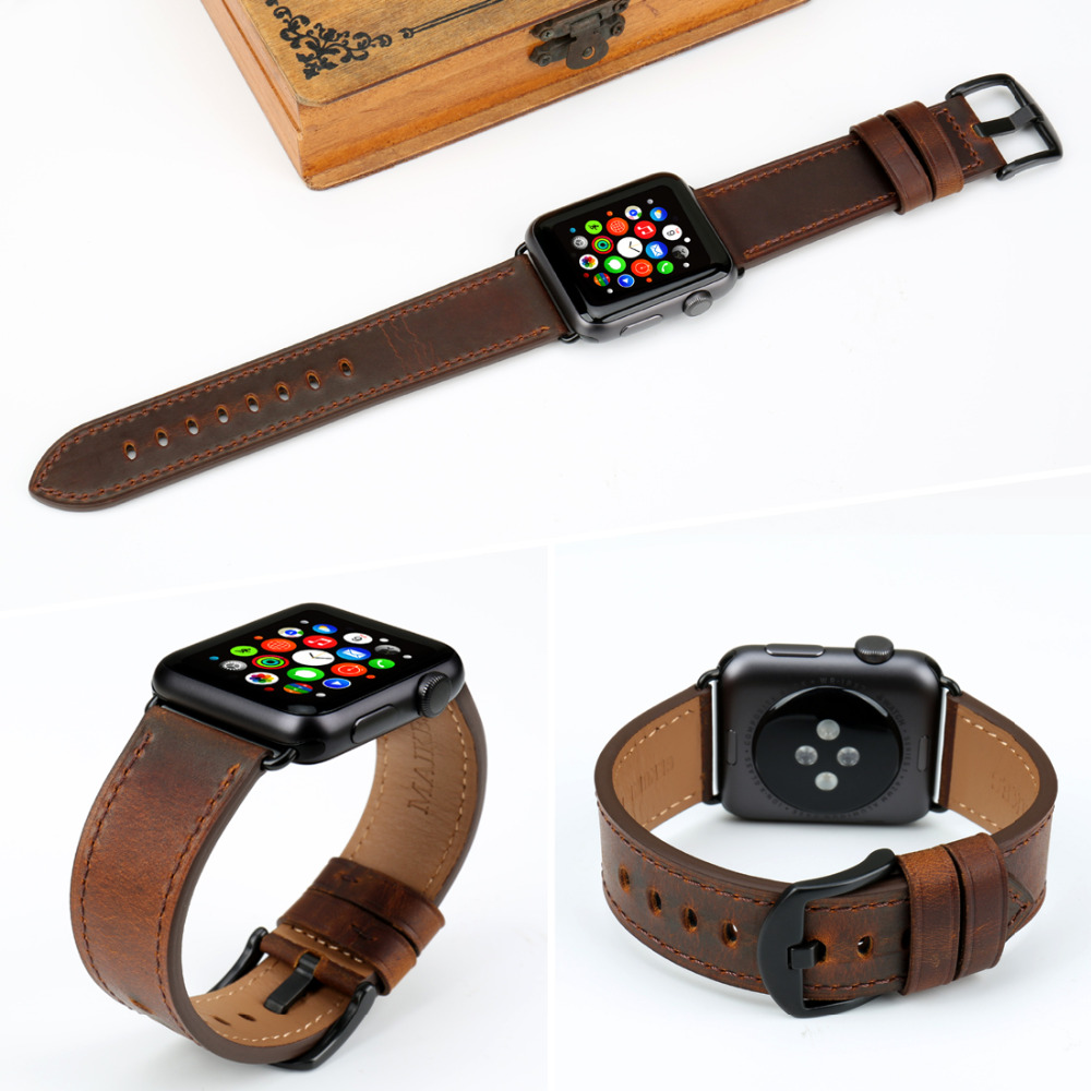 Image 4 - MAIKES Watch Accessories Genuine Leather Dark Brown iwatch Strap 44mm 40mm For Apple Watch Band 42mm 38mm Series 4   1 Bracelets-in Watchbands from Watches