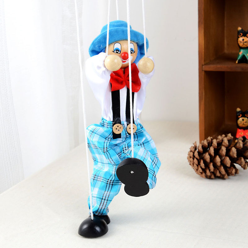 2018 1Pc Pull String Puppet Clown Wooden Marionette Toy Joint Activity Doll Vintage Baby Kids Child Gifts