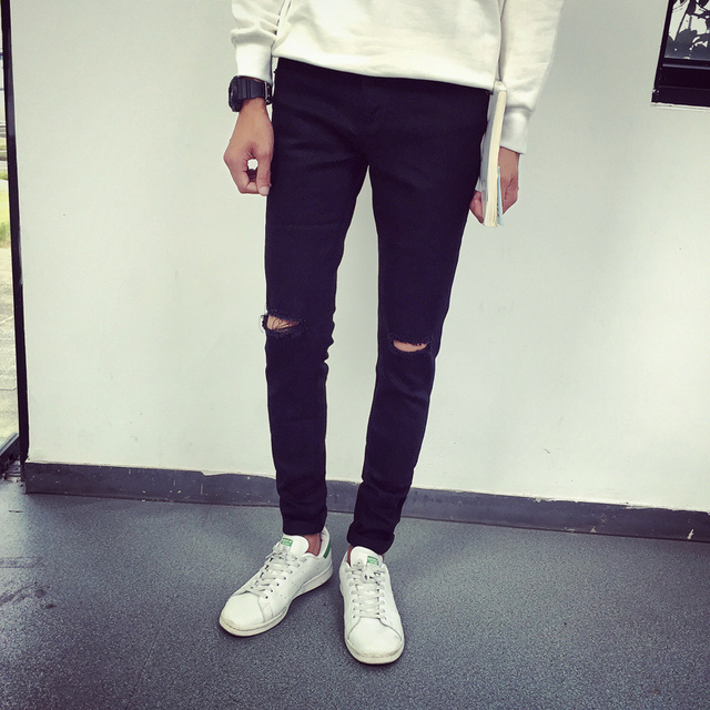 1206ebc8bf26a Jeans Men 201 Brand New Those Days Knee Ripped Hole Casual Skinny Solid  Black Denim Jeans Homme For Man