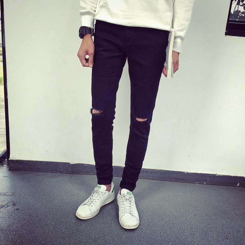 Online Get Cheap Ripped Hole Casual Skinny Solid Black Denim ...
