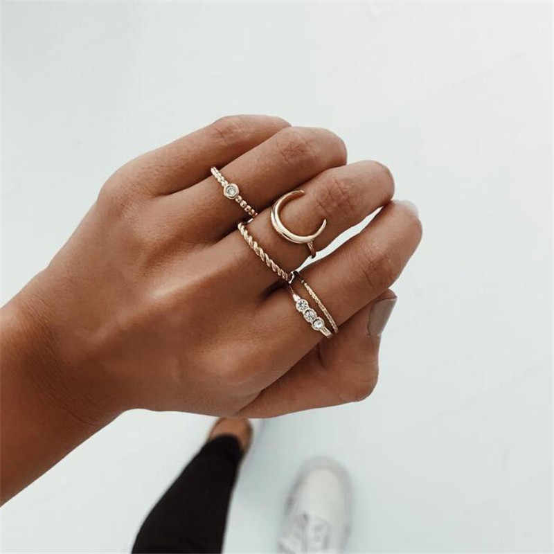 5 Piece Vintage Knuckle Ring Set For Women Crystal Wedding Rings For Ladies Geometric Chain Carving Moon Flower Ring For Women