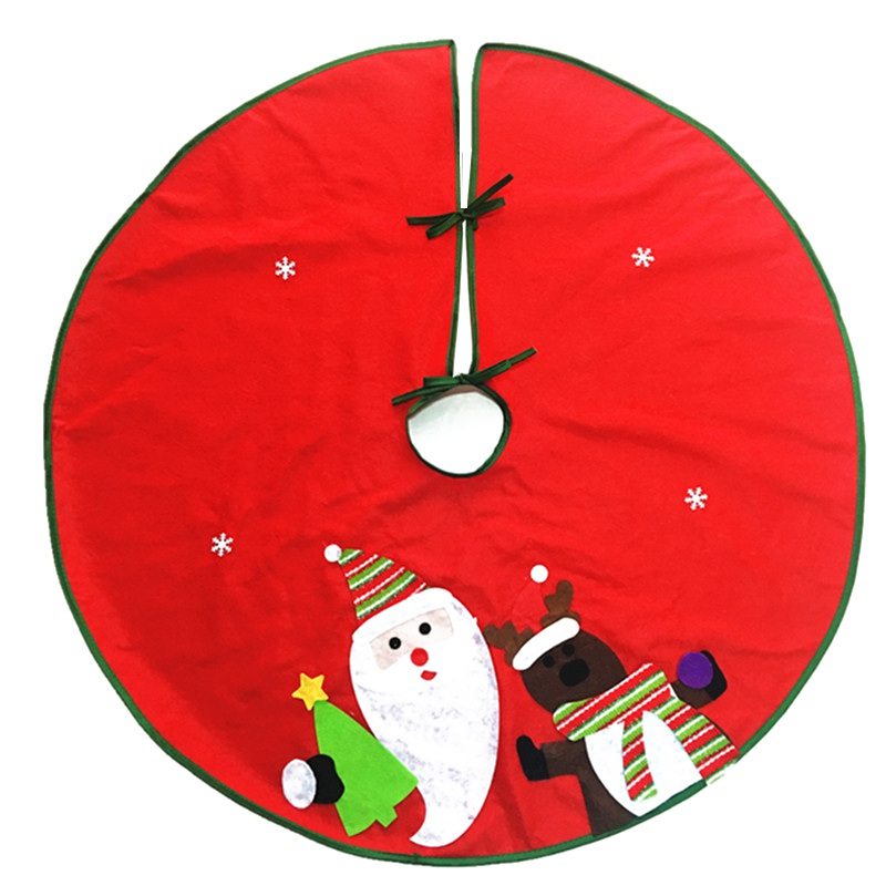 Christmas Tree Skirt Red Round Quilted Santa Claus House Party Decor Cover Christmas Tree Skirts Decoracion Navidad 60cm/90cm