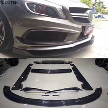 W176 A45 Carbon fiber front bumper lip rear diffuser side skirts spoiler For Benz AMG body kit 2013UP