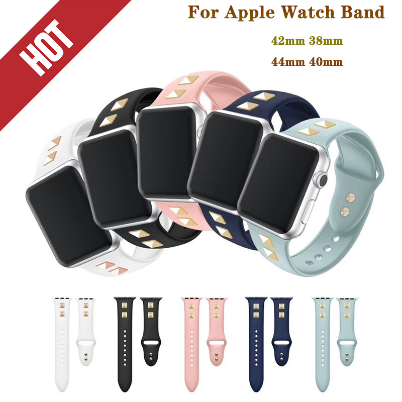 Soft silicone Sport band for Apple watch band 44/42/40/38mm Bracelet Strap punk rivet style Compatible for iWatch series 4/3/2/1Soft silicone Sport band for Apple watch band 44/42/40/38mm Bracelet Strap punk rivet style Compatible for iWatch series 4/3/2/1