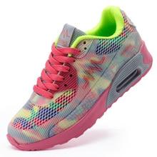 2018 Primavera Verano Nuevo Estilo Multicolor Zapatos para caminar Mujer Air Sole Amortiguación Zapatos deportivos Mujeres Zapatillas Lace up