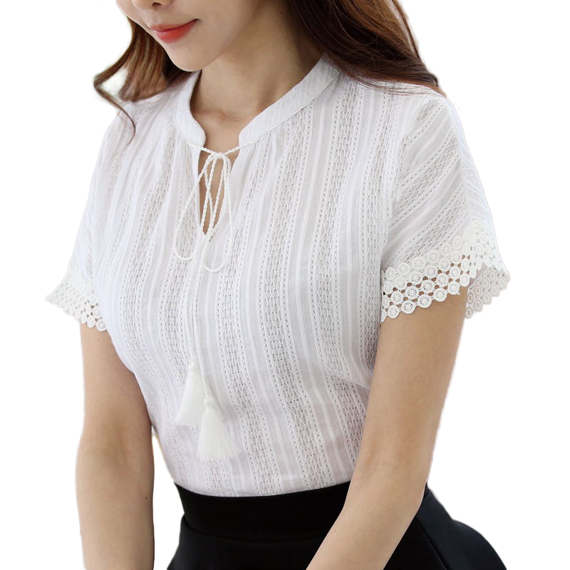Foxmertor 100% Cotton Shirt Short Sleeve 2018 Summer Women Blouses Tops Solid Casual Lace Hollow Out White Shirts OL Blusas E225