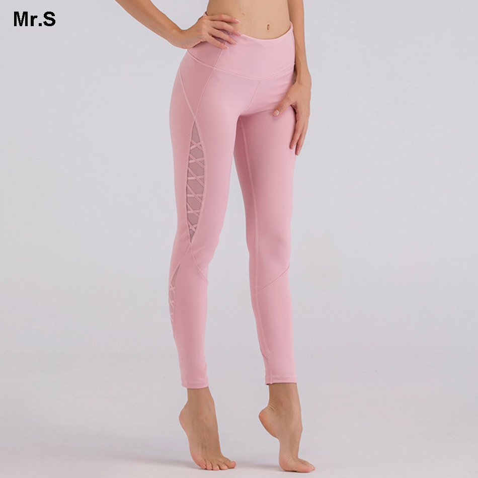 Mesh Panel Side Yoga Pants High waist Skinny Pink Yoga Leggings tummy control fitness exercise leggings workout sport gym tights