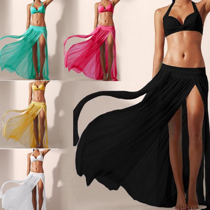 Sexy Women Beach Tulle Skirt Elastic Waist Fashion Solid Summer Beach Bikini Cover Ups Long Skirts vestidos mujer