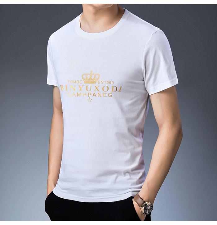 Baishanglinna Spring Summer Short Sleeve Tee Shirt Men Casual O-Neck T-Shirt Men Pure Cotton Top Homme Brand Clothing S - XXXXL 9