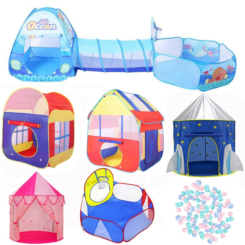 3 In 1 Children Play Tent Children Tunnel Tents Ocean Balls Pool Pit Large Pool Tube Teepee Foldable Baby Play Tent For Kids