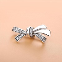 2018 Spring New Retro 100% 925 Silver BRILLIANT BOW CHARM Fit pandora Bracelets Bangle Necklace Pendant DIY Jewelry
